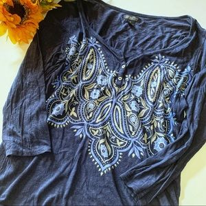 LUCKY BRAND > Printed Henley Top